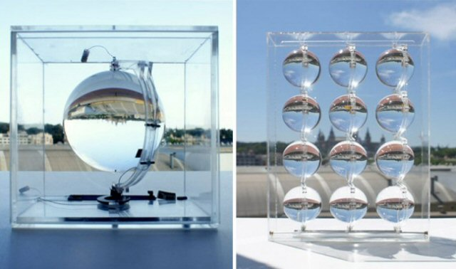 Stacked solar glass orbs